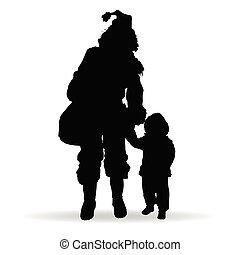 zwarte vrouw, silhouette, illustratie, kind