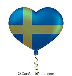zweden, hart, vlag, vorm.