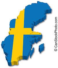 zweden, kaart, 3d, vlag