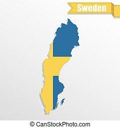 zweden, kaart, binnen, vlag, lint