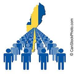 zweden, mensen, kaart, vlag