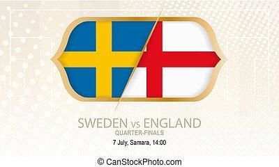 zweden, vs, engeland, quarter-finals., voetbal, competitie, samara.