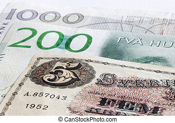 zweeds, 200, valuta, opmerkingen, 5, retro, sek, bank, 1000