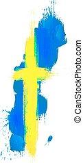 zweeds, kaart, vlag, grunge, zweden