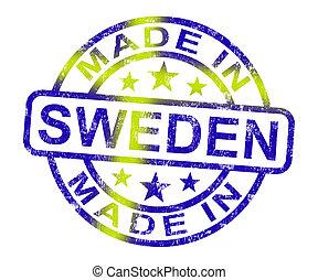 zweeds, product, gemaakt, postzegel, zweden, produceren, of, optredens