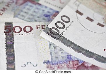 zweeds, som, closeup, rekeningen, 500, 1000