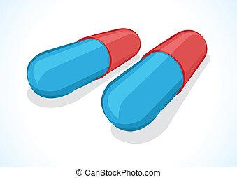 zwei, abbildung, pillen, vektor