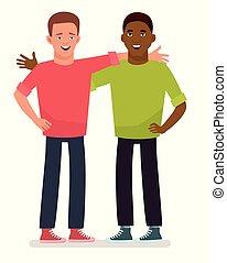 zwei, am besten, friends., zwei, guys., afrikanischer amerikaner, leute., begriff, von, friendship., vektor, abbildung, in, karikatur, style.