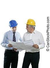 zwei, architektenplan, mannschaft, hardhat, sachkenntnis,...