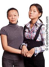 zwei, asiatische frau