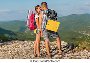 zwei, backpackers, in, berge.