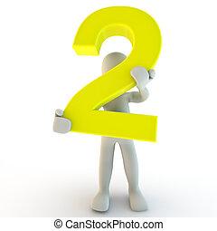 zwei, besitz, leute, zeichen, zahl, gelber , menschliche , klein, 3d