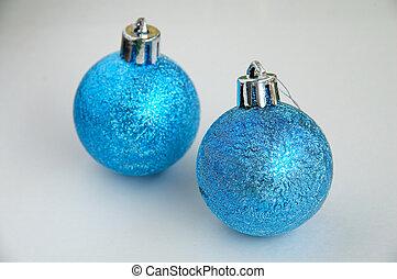 zwei, blaues, weihnachten, b