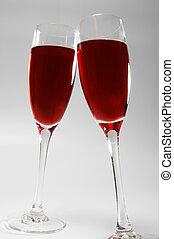 zwei, brille, mit, rotwein