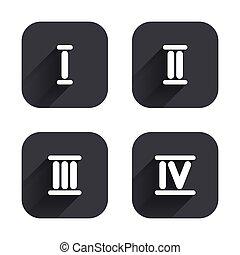 zwei, eins, zahl, icons., three., römische ziffer
