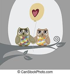 zwei, eulen, und, liebe, balloon