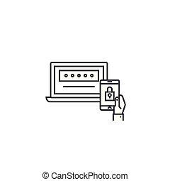 zwei, factor, authentication, vektor, linie, ikone, zeichen, abbildung, hintergrund, editable, schläge