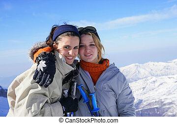 zwei freunde, auf, ski fahrend, reise
