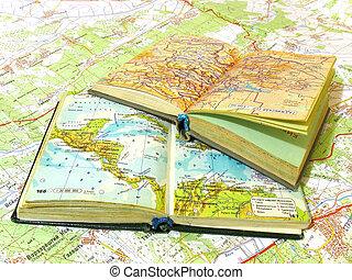 zwei, geöffnet, altes , atlas, buch, auf, der, spannweite,...