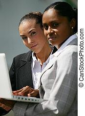 zwei, geschäftsfrauen, überprüfung von informationen