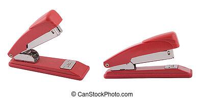 zwei, gesichtspunkt, von, rotes , büroheftgeräte