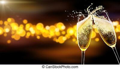 zwei, gläser champagner, aus, verwischen, flecke,...
