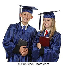 zwei, glücklich, studenten, besitz, buecher