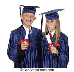 zwei, glücklich, studenten, besitz, grad