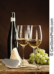 zwei, glas weißwein, riesling