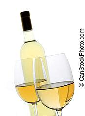 zwei, glas weißwein