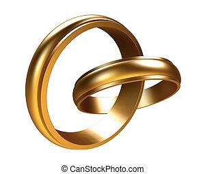 zwei, gold, ringe