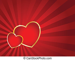 zwei herzen, mit, goldenes, schlag, und, gestreift, hintergrund., valentine\'s, tag, vektor, card.