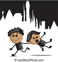 zwei jungen, rennender