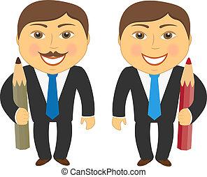 zwei, karikatur, mann bleistift