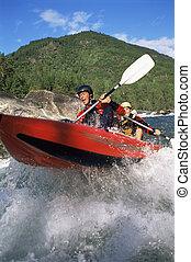 zwei, kayakers, rudern, in, stromschnellen, (selective,...