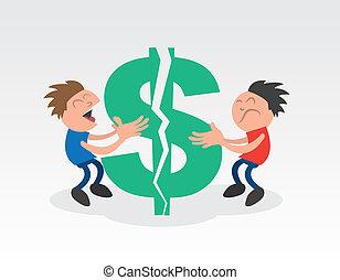 zwei kerle, ziehen, auseinander, dollarzeichen