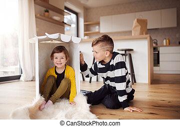zwei kinder, home., innen, glücklich, spielende
