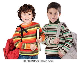 zwei kinder, studenten, zurückbringen schule