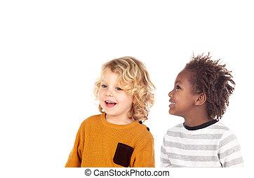 zwei, kleine kinder, lachender