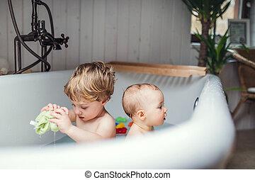 Badezimmer, kinder, innenseite, ohne, kinder, vorschulisch ...