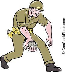 zwei, kriegsbilder, soldat, amerikanische , granate, welt,...