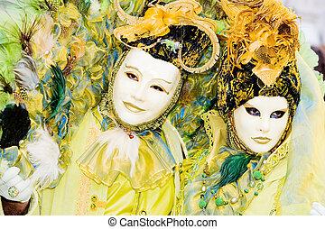 zwei leute, in, masken, an, der, venedig karneval