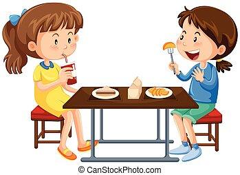mittagstisch kinder essen kantine mittagstisch kinder vektor clipart suchen sie. Black Bedroom Furniture Sets. Home Design Ideas