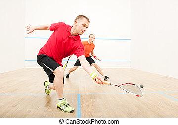 zwei männer, spielende , streichholz, von, squash., closeup,...