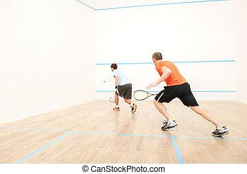 zwei männer, spielende , streichholz, von, squash., hinterer...