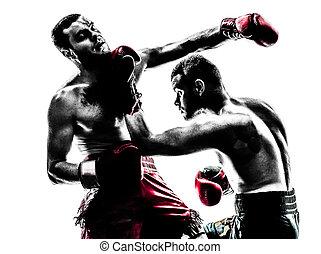 zwei männer, trainieren, thailändisch, boxen, silhouette