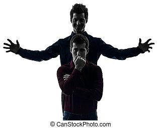 zwei männer, zwilling, bruder, friends, herrschaft, schyzophrenia, begriff, s