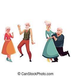 zwei paare, von, altes , älter, leute, tanzen zusammen