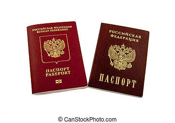 zwei, reisepässe, -, intern, russische, reisepässe, und, der, reisepaß, von, der, rusischer bund