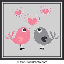 zwei, reizend, vögel